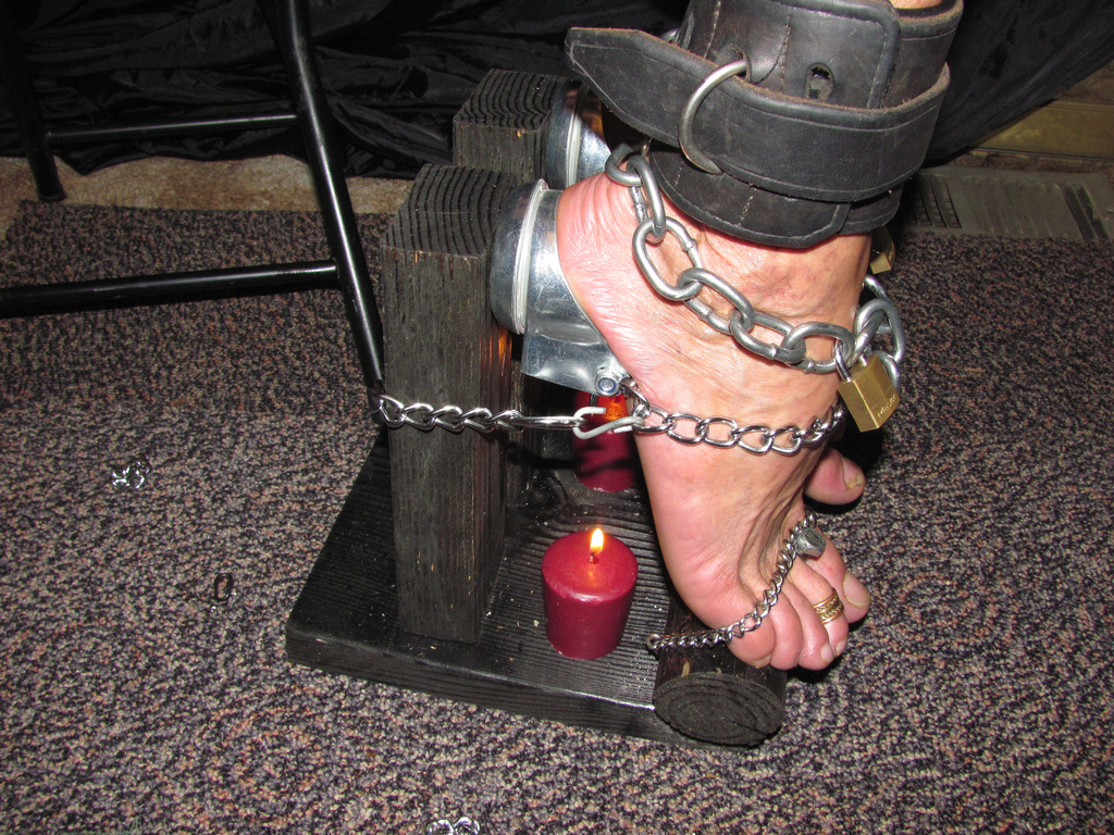 Someone bare foot electro bondage most